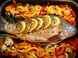 рыба, запеченная в духовке с овощами