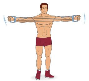 выполнение упражнения с эспандером для грудных мышц