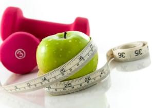 яблоко, ростометр и гантели
